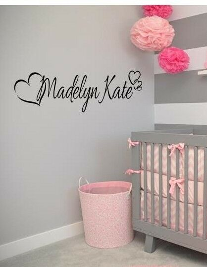 Home Decoration - PERSONALIZED NAME HEARTS GIRLS  Vinyl Wall Art Decal Kids Children Nursery Room