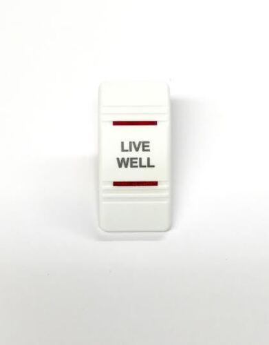 Euro Rocker Switch Cover- LIVE WELL. White with 2 Red Lenses. Contura III. Fi...