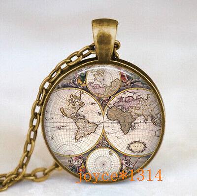 Vintage World map Cabochon Bronze Glass Chain Pendant Necklace #445 ()