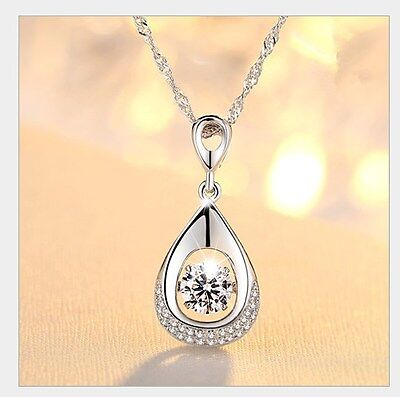 Dancing Love Diamond Accent Sterling Silver Halo Teardrop Pendant Necklace Gift Diamond Accent Love Necklace