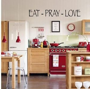 Eat pray love wall art quote words home decal vinyl lettering kitchen