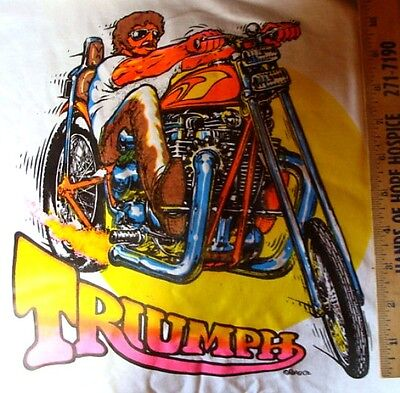 1972 Triumph Chopper Motorcycle Iron On T Shirt Heat Transfer New Old Stock NoR