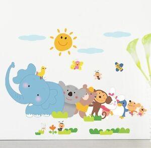 Wandtattoo Dschungeltiere Kinder Cartoon Designs Elefant Affe Koalabär Pinguin