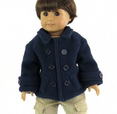 Navy Pea Coat Jacket for American Girl 18 inch or Bitty Baby 15 inch Doll Clothes