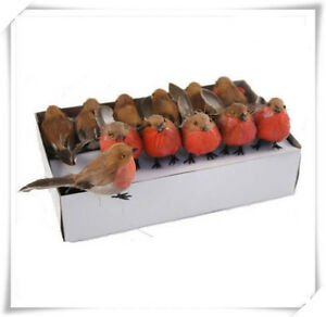 12pcs Christmas Robin Birds Artificial Feather Xmas Tree Decoration