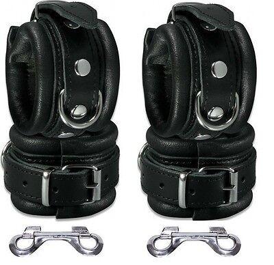 Leder Arm und Fußbänder Manschetten Hand Fuß Fesseln Set schwarz gepolstert