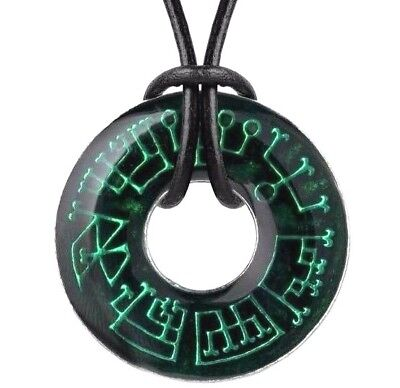 Angel Green Pendant - Angel Ring Occult Pendant 7 Planetary Archangels Seals Green Alchemy Gothic N203