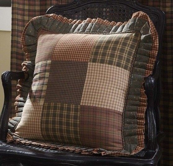 VHC Brands Primitive Bedding Cinnamon Plaid Cotton Patchwork