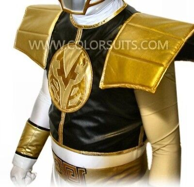Ranger style White & Gold Shield and Belt Combo - Power Super Hero Costume (Gold Power Ranger Costume)