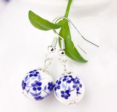 Porcelain Blue White Drop Earrings Bead Flower Dainty Dangly GIFT BOXED