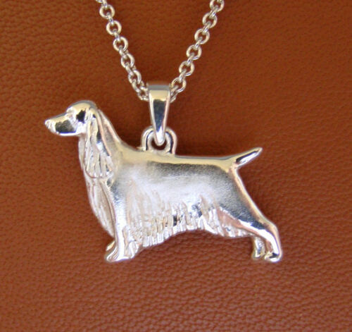 Small Sterling Silver English Springer Spaniel Standing Study Pendant