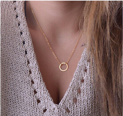 Small Charm Necklace (Gold Infinity Small Circle Necklace Hollow Floating Charm Dainty Pendant)