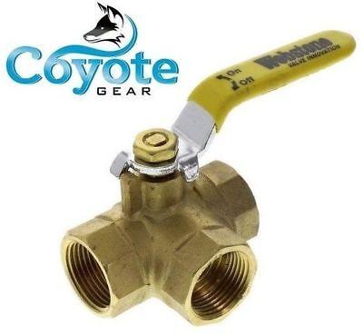 12 Npt Female Thread 3 Way Brass Ball Valve L-port 600wog Fnpt Coyote Gear