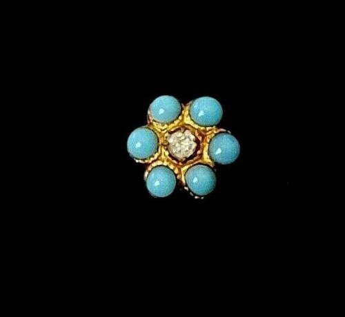 Adorable Antique Button…Tiny Flower Dimi Diminutive…Enamel Pierreries & Paste