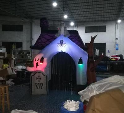 10ft New Halloween Inflatable Haunted House with Led Lights for Decoration U