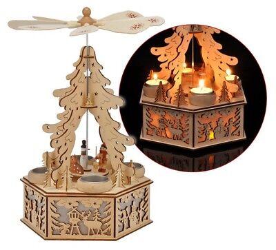 Holz Weihnachtspyramide Weihnachtsdeko Weihnachten LED Beleuchtung Teelichter