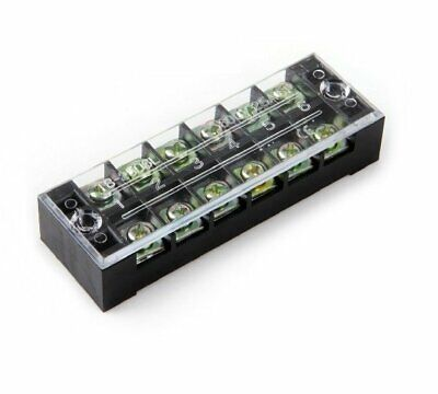 1pc 6-position 600v 15a Double Row Barrier Block Screw Terminal Strip