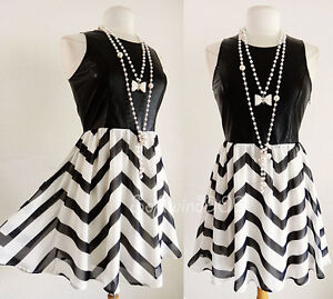 NEW Black Ivory Faux-Leather Top Chevron Chiffon Skater Skirt Contrast Dress