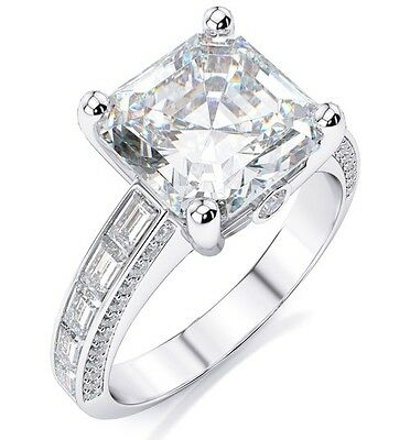 New 2.44 Ct. Asscher Cut,Baguette & Round Diamond Engagement Ring I,IF GIA 18K