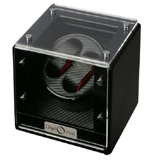 Diplomat Black Wood Dual Watch Winder Box With Carbon Fiber Interior Double Two