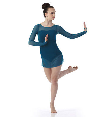 Child Large Teal color Contemporary Ballet Dance Dress Costume Sheer Long Sleeve