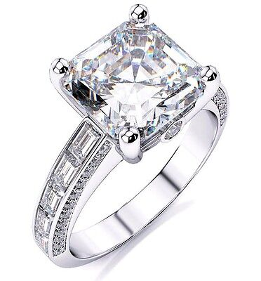 1.90 Ct. Asscher Cut Baguette & Round Diamond Engagement Ring E,VS2 GIA 14k WG