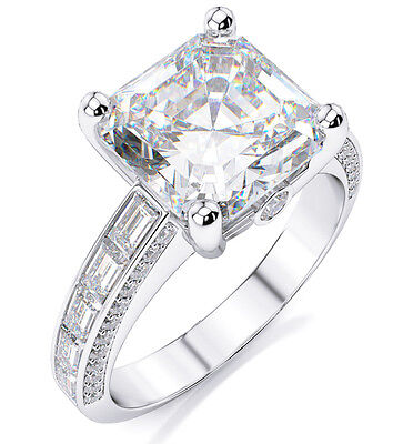 Fine 2.15 Ct. Asscher Cut & Baguette Diamond Engagement Ring  E, VS1 GIA 14K WG
