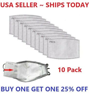 10 Pack PM2.5 Activated Carbon Filters 5 Layer Replacement For Face Mask Cover