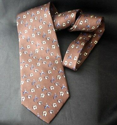 DUNHILL Hanger Collar Print Brown Silk Necktie -