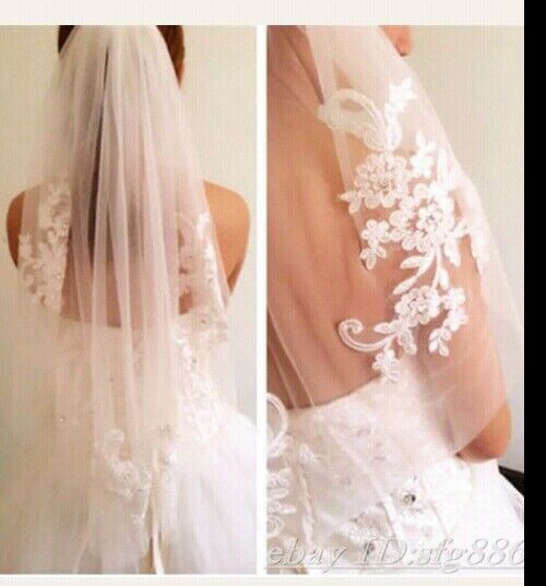 Ivory Wedding Bridal Veil Lace Appliques Rhinestone Accents Elbow Length Comb