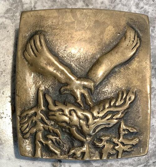 Vintage Solid Brass Belt Buckle Eagle Bird In Tree Anacortes Brass Works 1977