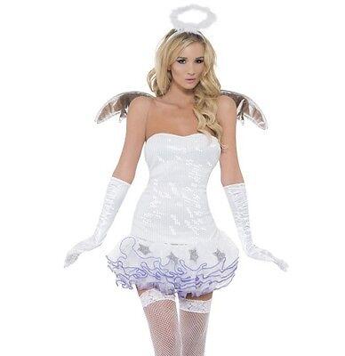 Smiffy Engel Kostüm (Damen Weihnachten Pailletten Engel Kostüm Tutu Kleid Kostüm Smiffys)