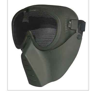 TAIGEAR MOLLE LARGE GREEN SCREEN MASK WITH STRAP for Paint Ball BEST