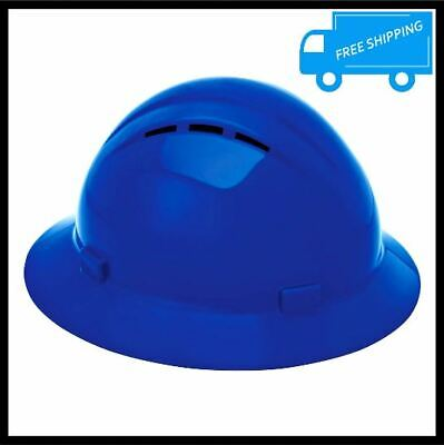 Americana Full Brim Hard Hat Vented Blue Construction Headgear Safety Protection