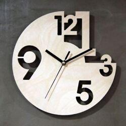 Creative Wooden Wall Clock Silent Round Clock Modern Decor Interior Gift NC01