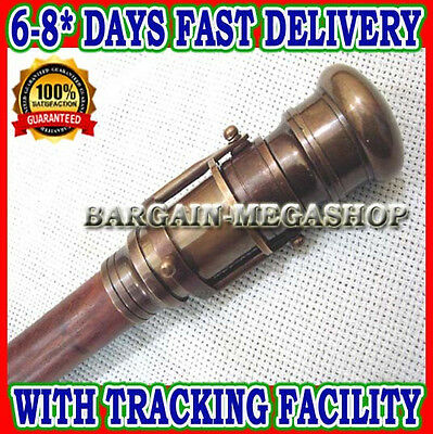 Walking Cane,Brass Antique Walking Stick Folding Telescope wooden Nautical jnk1