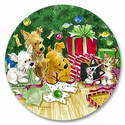 12  WAGS & WHISKERS CHRISTMAS PUPPY DOG & KITTEN CAT SEALS STICKERS USA MADE #44