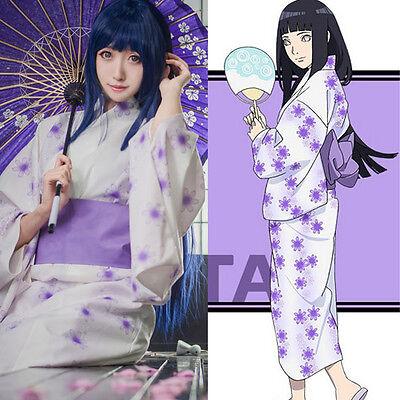 NARUTO Hyuga Hyuuga Hinata Kimono Yukata Kostüm Cosplay Costume Anime Manga Neu