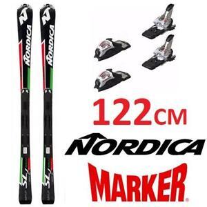 USED NORDICA SKIS W/ BINDINGS 122CM 140194320 NORDICA DOBERMANN SLJ WORLD CUP MARKER RACE BINDINGS JUNIOR SKIS
