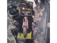 brand new ladies fancy dress creepy costume includes veil halloween size 8/10