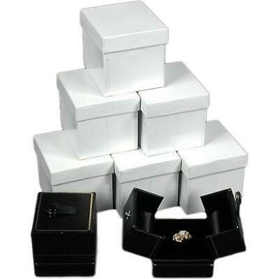 6 Large Black Ring Gift Boxes With Snap Lids