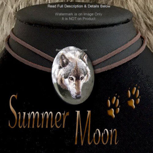 SUMMER MOON WOLF NECKLACE LEATHER CHOKER WILD WOLVES NATURE ART  FREE SHIP  #CL