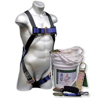 30 Roofers Fall Safety Kit In A Bucket - Harness Lanyard Lifeline Anchor