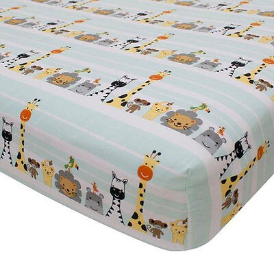 Lambs & Ivy Peek A Boo Jungle Fitted Crib Sheet - Stripe