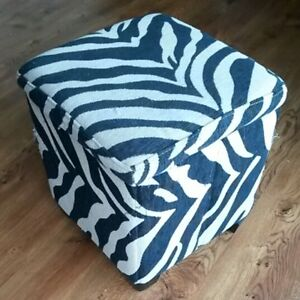 Tiger-Stripe Padded Footstool with Storage Inside!