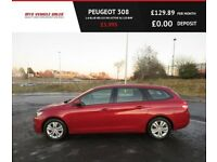 PEUGEOT 308 1.6 BLUE HDI SW ACTIVE,2015,Sat Nav,Bluetooth,88mpg,Zero Road Tax,F.S.H