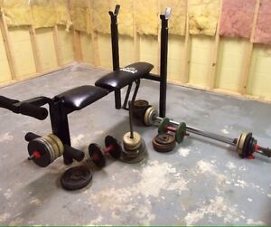 weights(306 lbs, 40 weights) & bench
