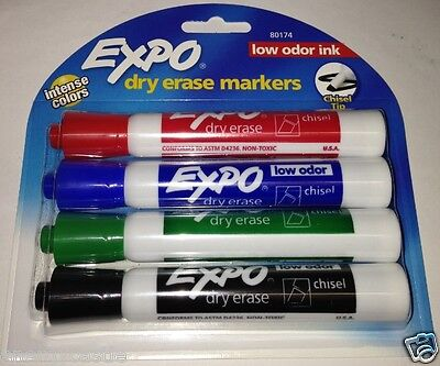 Set Of 4 Expo Low Odor Chisel Tip Dry Erase Markers Intense Colors 80174