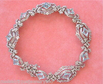 ANTIQUE STYLE 1.85ctw DIAMOND 5.5ctw AQUAMARINE WHITE 18K GOLD BRACELET