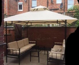 Garden benches, canopy and coffee table